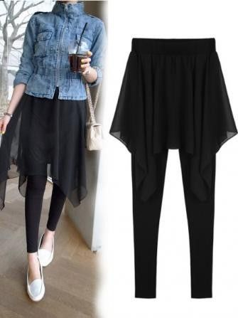 FREE SHIPPING! Women Fake Two Irregular Chiffon Leggings Thin Skirts Pants Culotte SKU201141