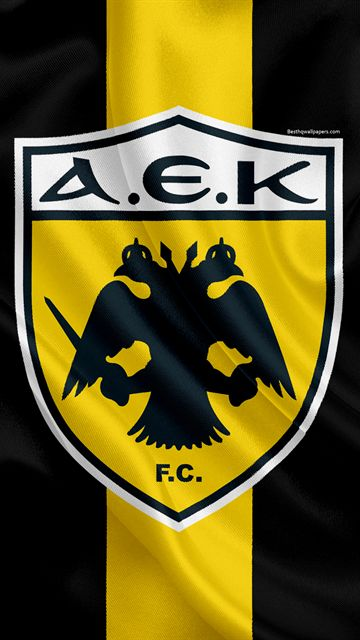 AEK Athens FC, 4k, Greek football club, emblem, logo, Super League, championship, football, Athens, Greece, silk texture, flag