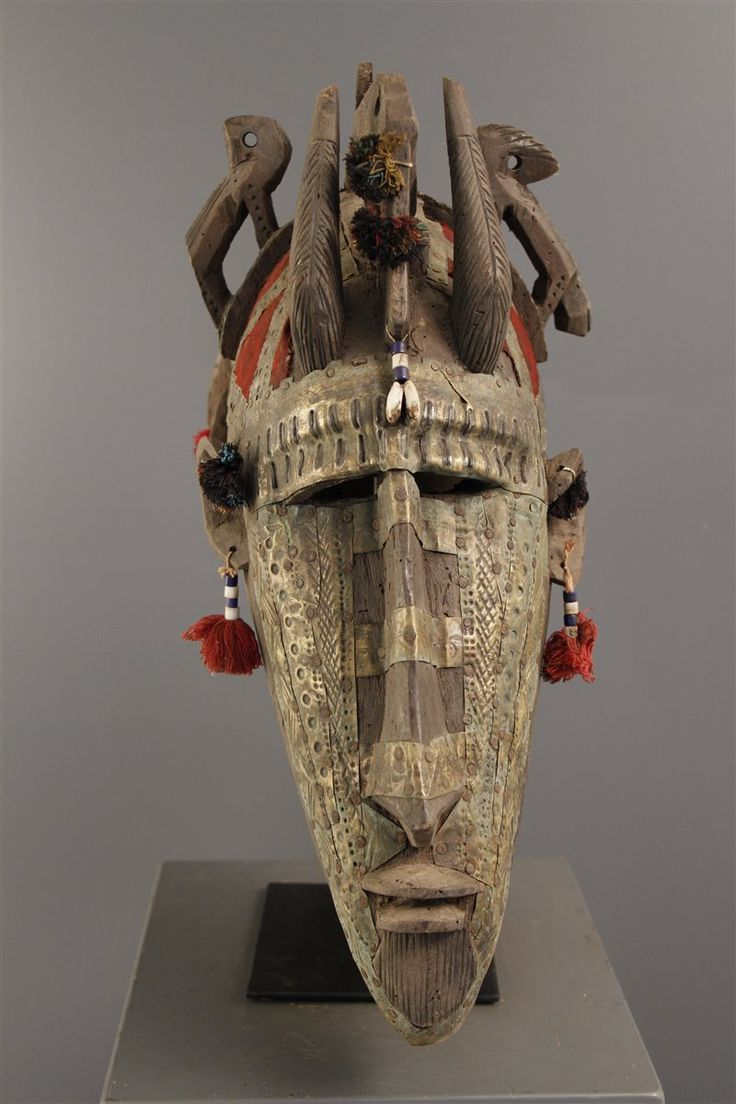 Africa | Janus mask from the Markha people of Mali | Wood, metal, beads, cowrie shells, fiber | ca. 1971