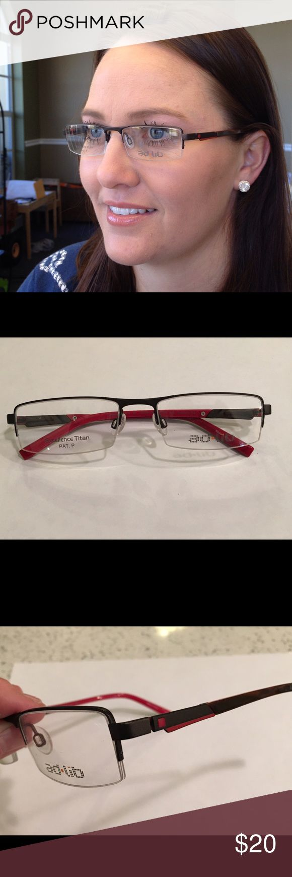 Excellence Titanium Ad Lib Frame! Extremely Lightweight, Awesome Quality by Charmant. Dark Brown (almost black) w/ Red Accents. Semi-Rimless design adds more to Lightweight aspect. Top bar adds sporty look, works great for medium sized face, either gender. First time listed as I set rock bottom pricing, to move all frames! Ad Lib Accessories Glasses
