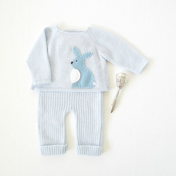 Knitted sweater and ribbed pants in soft blue with a felt rabbit. 100% wool. READY TO SHIP in size Newborn.
