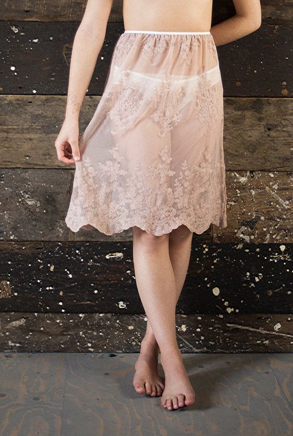 GRACE Lace Slip Skirt in Blush Pink / Nude. Handmade by Nahina