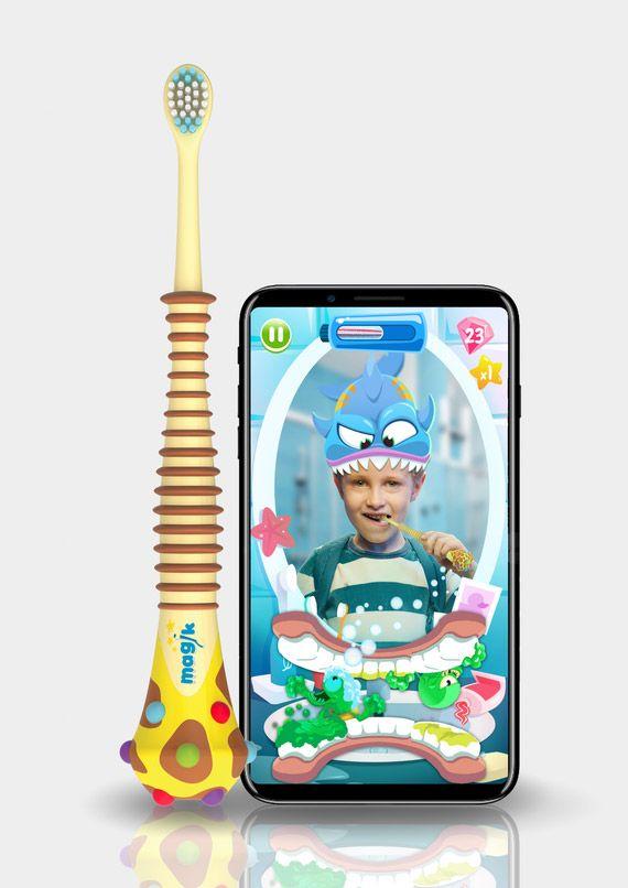 فرشاة أسنان Magik تستخدم تقنية الواقع المعزز لتشجيع الأطفال على تنظيف أسنانهم نيوتك New Tech Baby Tech Brushing Teeth Display Block