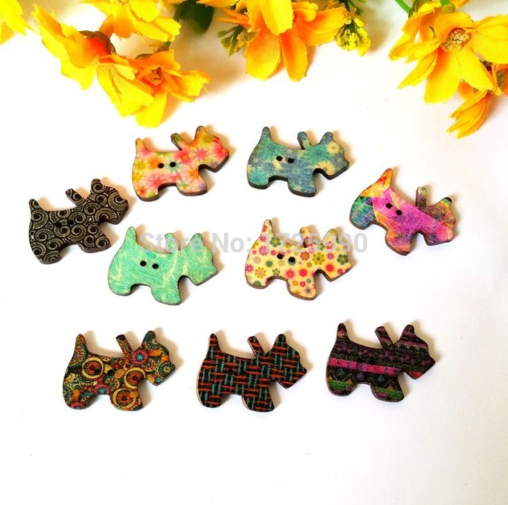 80pcs 28x20mm 2 Holes Mixed Color Lovely Dog Wooden buttons sewing accessories for craft accessories