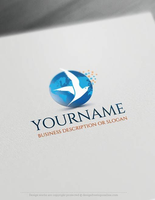 Create a Logo Free - Seagull Logo Templates Pre-made Online animal logo template Decorated with a globe and seagull logo image. This professional company logos excellent for business consulting, Beach, a tour company, high-tech, computers etc. How to design free logo online? 1- Customize This logo with our free logo maker tool - Change you company name, slogan, colors & fonts. 2- Like your design?