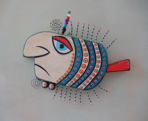 Gangster Fish, Original Found Object Wall Art, Wood Carving, by Fig Jam Studio