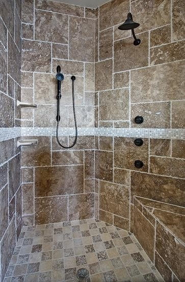 needs lighter neutral tile and two shower heads big shower