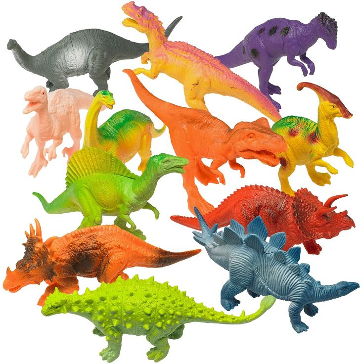 Amazon.com: Prextex Plastic Assorted Dinosaur Figures with Dinosaur Book,7-Inch,Pack of 12: Toys & Games
