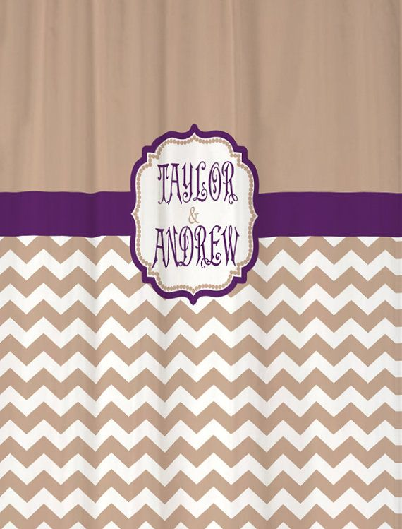 Long Shower Curtain Beige Chevron with Grape Accents 78 or 84 inch ...