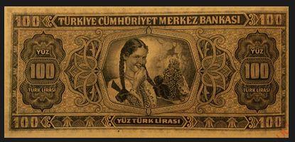 E3 YÜZ TÜRK LİRASI I. TERTİP Tedavüle Çıkarıldığı Tarih 15.08.1942 Tedavülden Çekildiği Tarih 25.04.1946 Resim Ön yüz İsmet İnönü Portresi Arka yüz Elinde Üzüm Salkımı Tutan Bir Türk Kızı