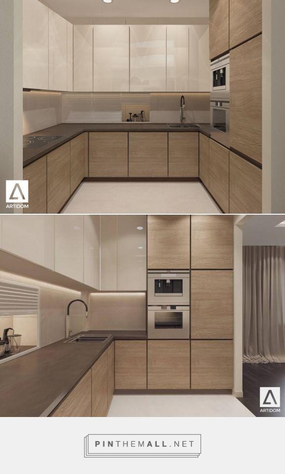 Light kitchen in wood. Beige kitchen. Small modern kitchen. Дизайн интерьера кухни. Бежевая светлая кухня. Современная кухня.