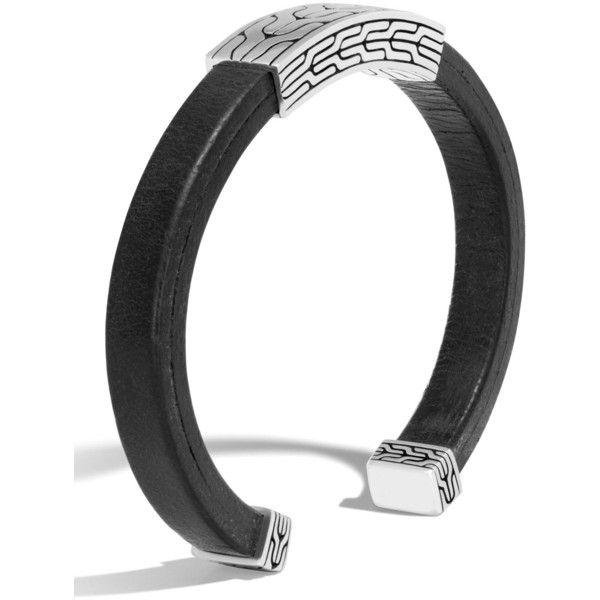 John Hardy Men's Classic Chain Sterling Silver & Leather Cuff ($595) ❤ liked on Polyvore featuring men's fashion, men's jewelry, men's bracelets, black, john hardy men's bracelets, mens sterling silver chains, mens chain link bracelets, mens leather cuff bracelets and mens engraved bracelets