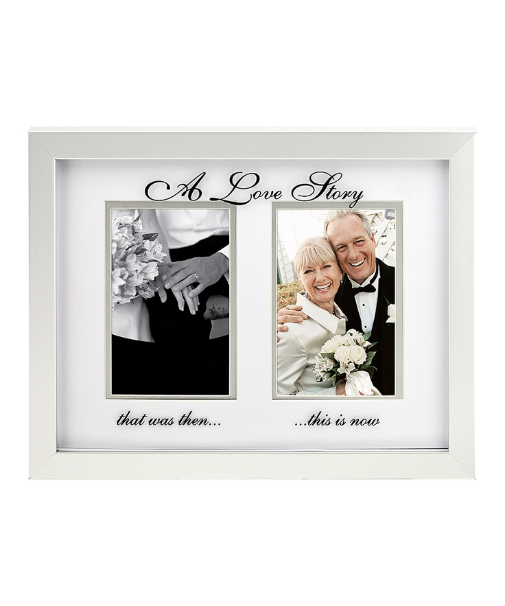 """Silver A Love Story Double Photo Frame. Love this idea """"A love Story that was then.... this is now"""" For Mom and Dad's 40th anniversary"""