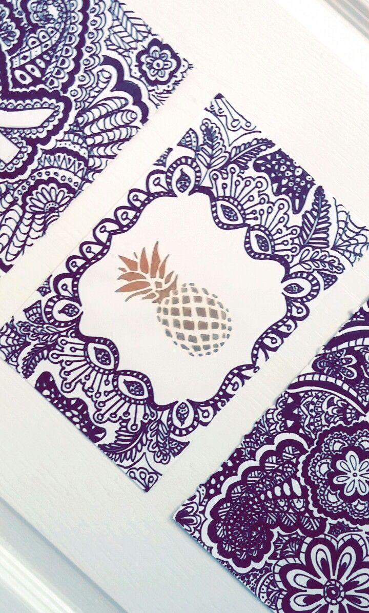 Pineapple zentangle gold and black