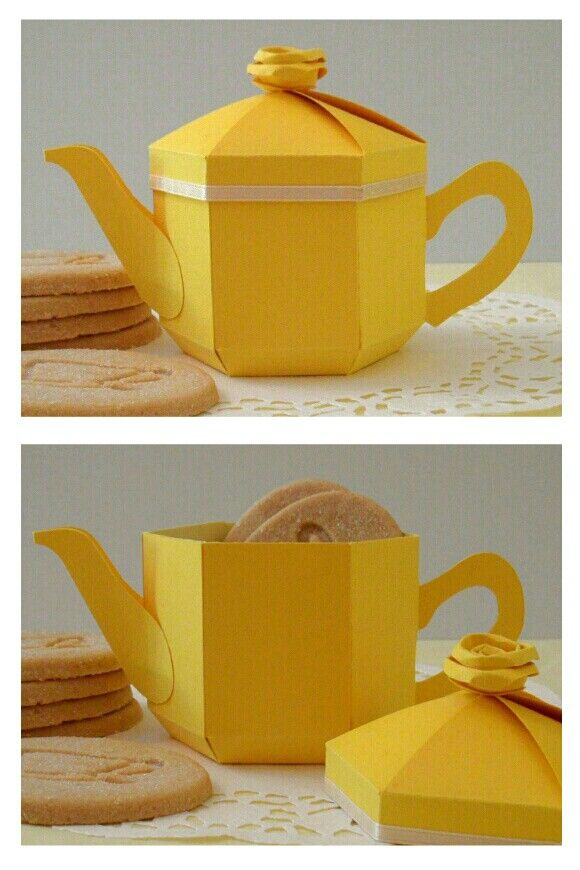 Yellow teapot gift box and lemon biscuit treats! - by Esselle Crafts