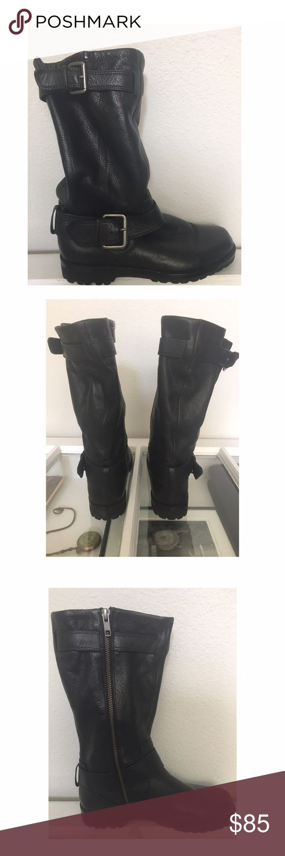 "Gentle Souls by Cole Hann ""Buckled Up"" Boot Soft buttery leather, perfect mid calf Moto boot. Maybe worn once? In like new condition! gentle souls Shoes Combat & Moto Boots"