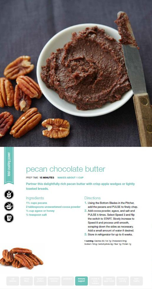 Try our Pecan Chocolate Butter! Quick and simple snack using the Ninja Ultima. Pairs great with apples.