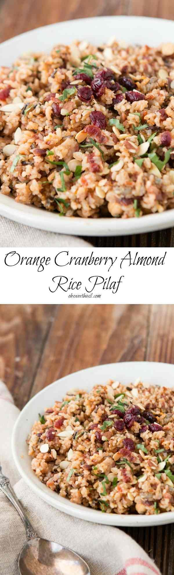 One of our favorite side dishes that looks fancy and is a piece of cake to make! Orange Cranberry Almond Rice Pilaf ohsweetbasil.com