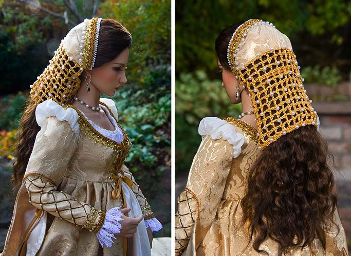 Gold and white Renaissance period dress, mid 1550s, with beaded headdress.