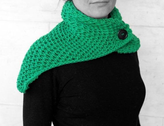 Neck warmer-shawl green by MmeDefargeYarnworks on Etsy