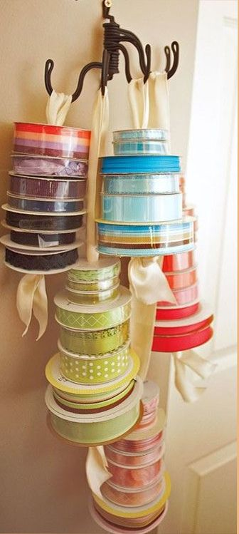 Papercrafting Organization: Ribbon-On Rolls Hung on Ribbons