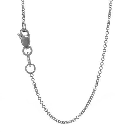18k Solid White Gold 1.5 mm Round Cable Chain Necklace 18 inch Lobster Claw