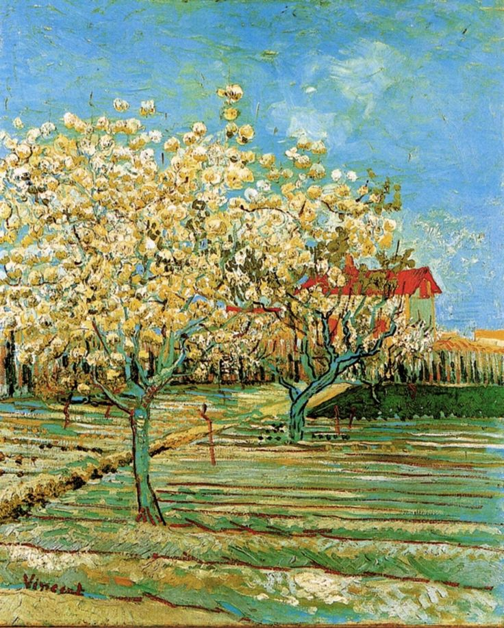 Orchard in Blossom - Vincent van Gogh - 1888 - Place of Creation: Arles ........#GT