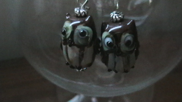 Ceramic Owl dangle earrings on silver wires.  $15.00