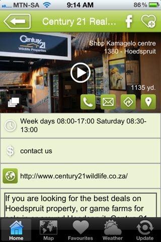 "Century 21 is a hAPPy estate agent- a ""Properties & Developments"" listing on the Hoedspruit Info App"