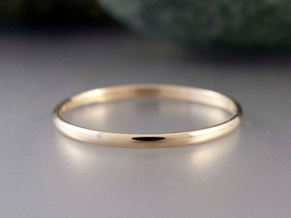 14k Gold Thin Wedding Band  Solid yellow gold by LichenAndLychee, $95.00