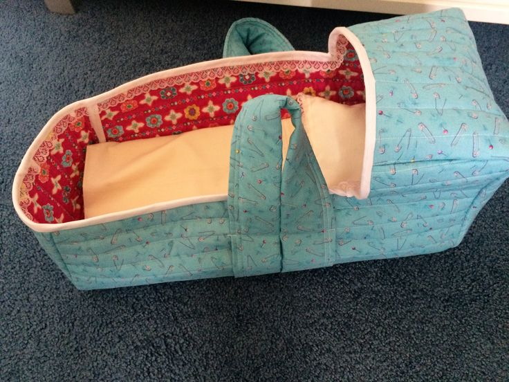 handmade dolls carrycot copied from a picture, quilted reversible handmade mattress and bedding