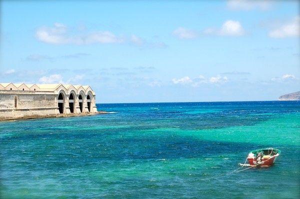 Aegadian Islands| Isole Egadi Favignana, Sicily Italy ~ Crystal Clear Bright Blue Mediterranean Sea, tiny fishermen boats & Historic Port Architecture