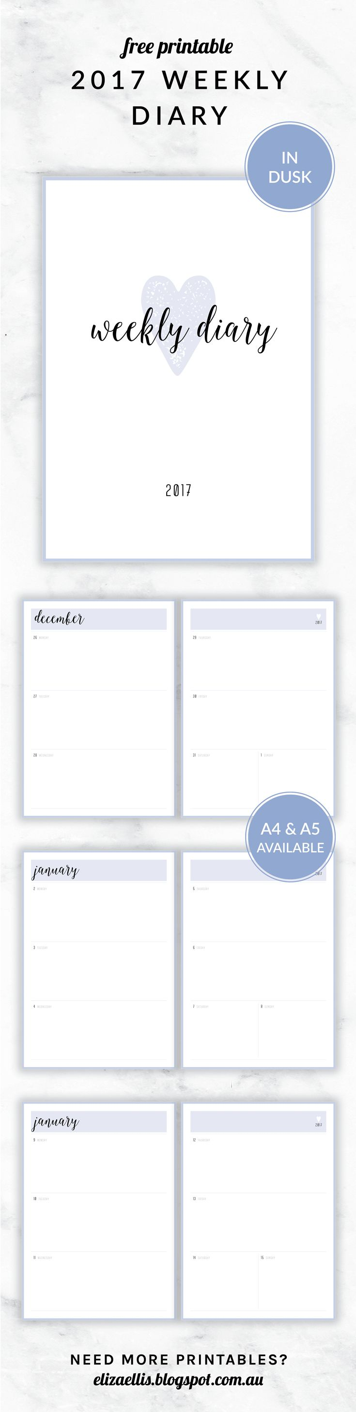 Free Printable 2017 Irma Collection Weekly Diary // by Eliza Ellis. Available in both A4 and A5 sizes, and in 6 different colors. Check out my website to find matching daily planners, weekly planners, calendars, to do lists, notes, accounts, contacts and much much more!