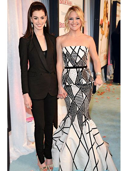 Kate Hudson - 2009 With Anne Hathaway at the premiere of Bride Wars in New York City | allure.com