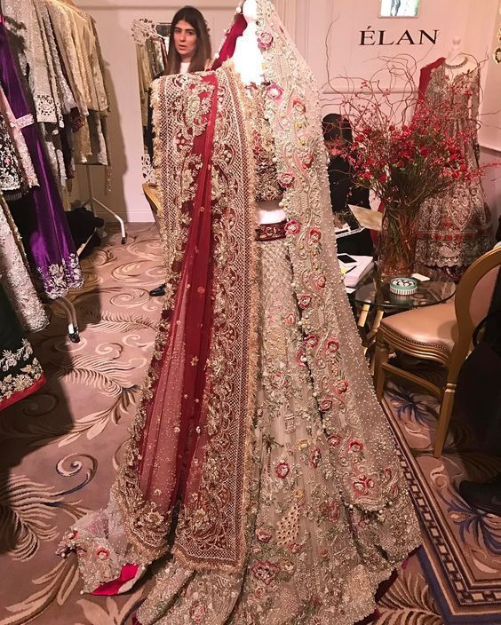 Pakistani new wedding trail anarkali gown lengha lehenga Indian red zardosi work | eBay