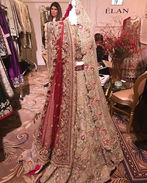 Pakistani new wedding trail anarkali gown lengha lehenga Indian red zardosi work | eBay