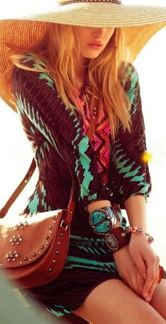 Bohemian Chic in Brown & Teal with a Wide Brimmed Hat!