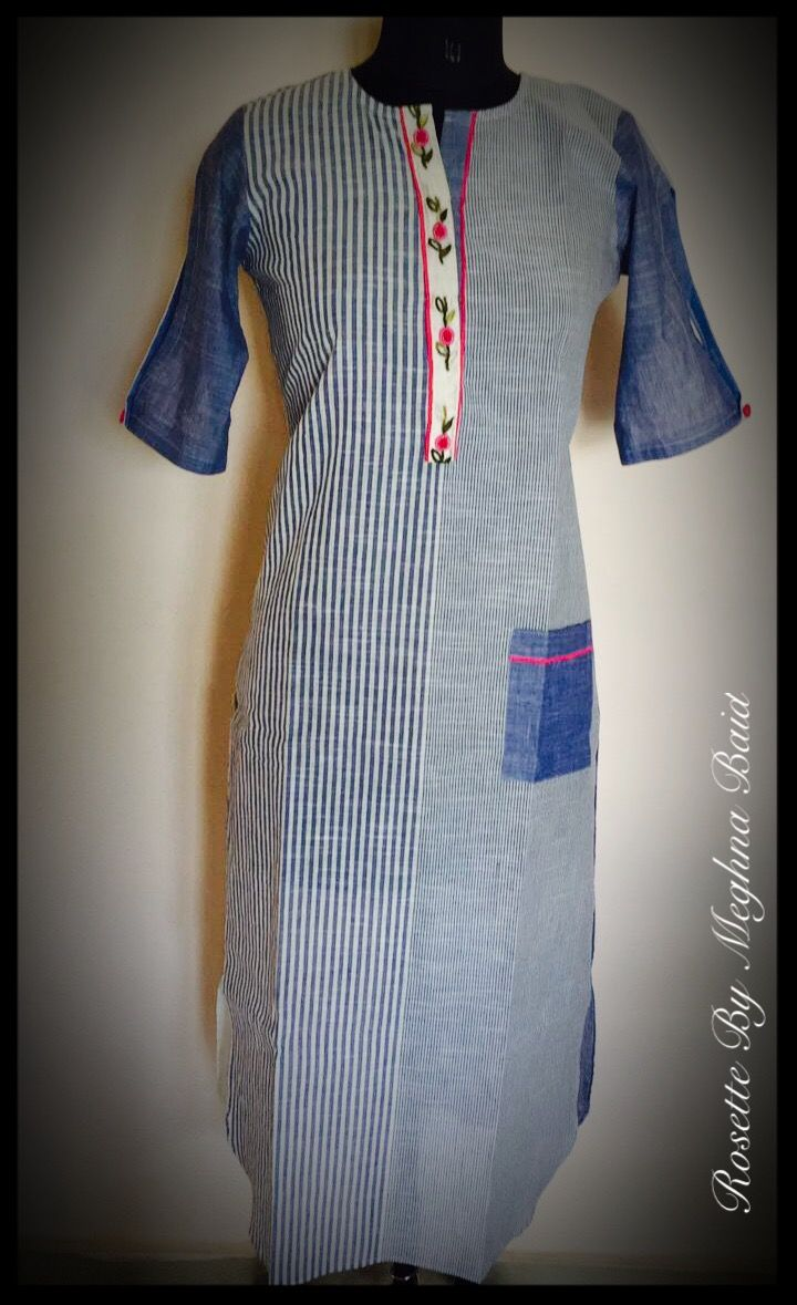 Summer wear striped kurta with hand embroidered lace and pocket on one side makes it a style statement