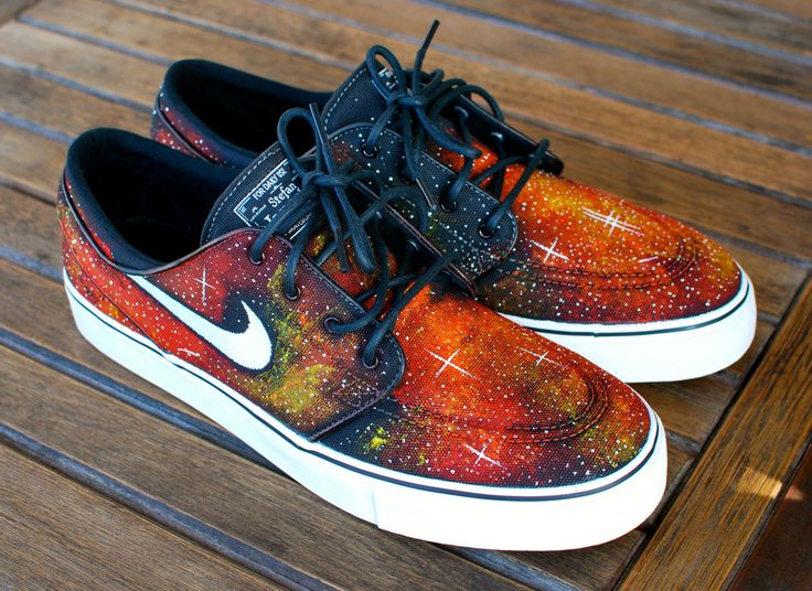 These custom black canvas Nike Zoom Stefan Janoski skate shoes features my hand painted Solar Flare Galaxy design. This order is customizable as I can paint this one-of-a-kind, original design on any