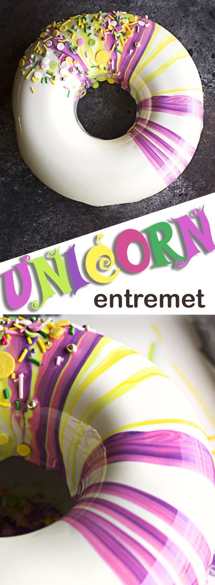 Learn how to make this amazing shiny entremet with… #entremet #unicorn #cake