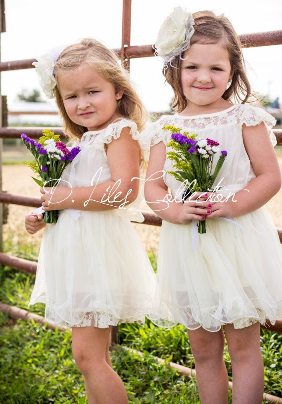 The Charlotte - Ivory, Lace, Chiffon Flower Girl Dress, made for girls, toddlers, ages 1T, 2T,3T,4T, 5T, 6, 7, 8, 9/10 on Etsy, $68.99