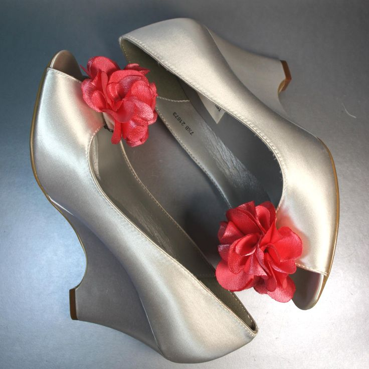 Ivory Wedding Wedges With Coral Ruffled Flower Adornment