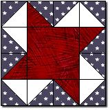Independence Day (July 4, 1776) or Memorial Day (last Monday of May, Civil War) or Veteran's Day (November 11th, 1918): quilt block pattern