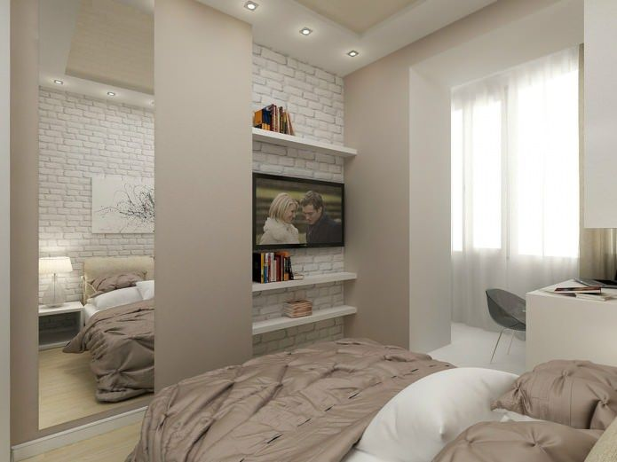спальня с рабочим местом в дизайне однокомнатной квартиры 45 кв. м.