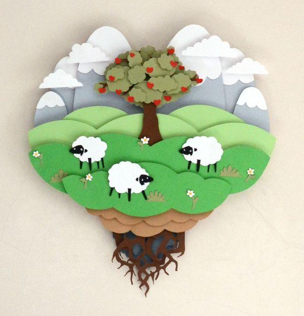 Papercut artworks for children room by Vaclav Bicha, via Behance
