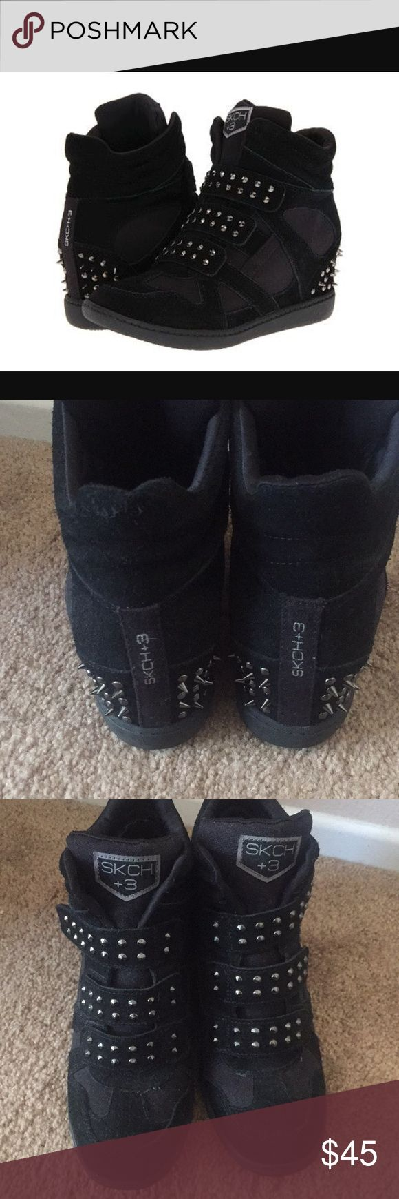 Skechers black wedge sneakers with spikes size 8 Like new retro Skechers black wedge sneakers with silver spikes on the heels and Velcro straps. In perfect condition, very comfortable. Wedge is about 3 inches. Size 8 Skechers Shoes Sneakers