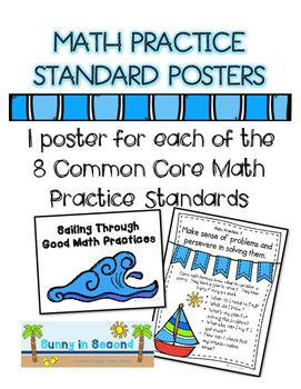 These Common Core math practice posters will look great in your classroom!  There is one poster for each of the 8 math practices and 1 header for your bulletin board.  These posters will be helpful to you as you incorporate the math practice standards into your daily lessons.