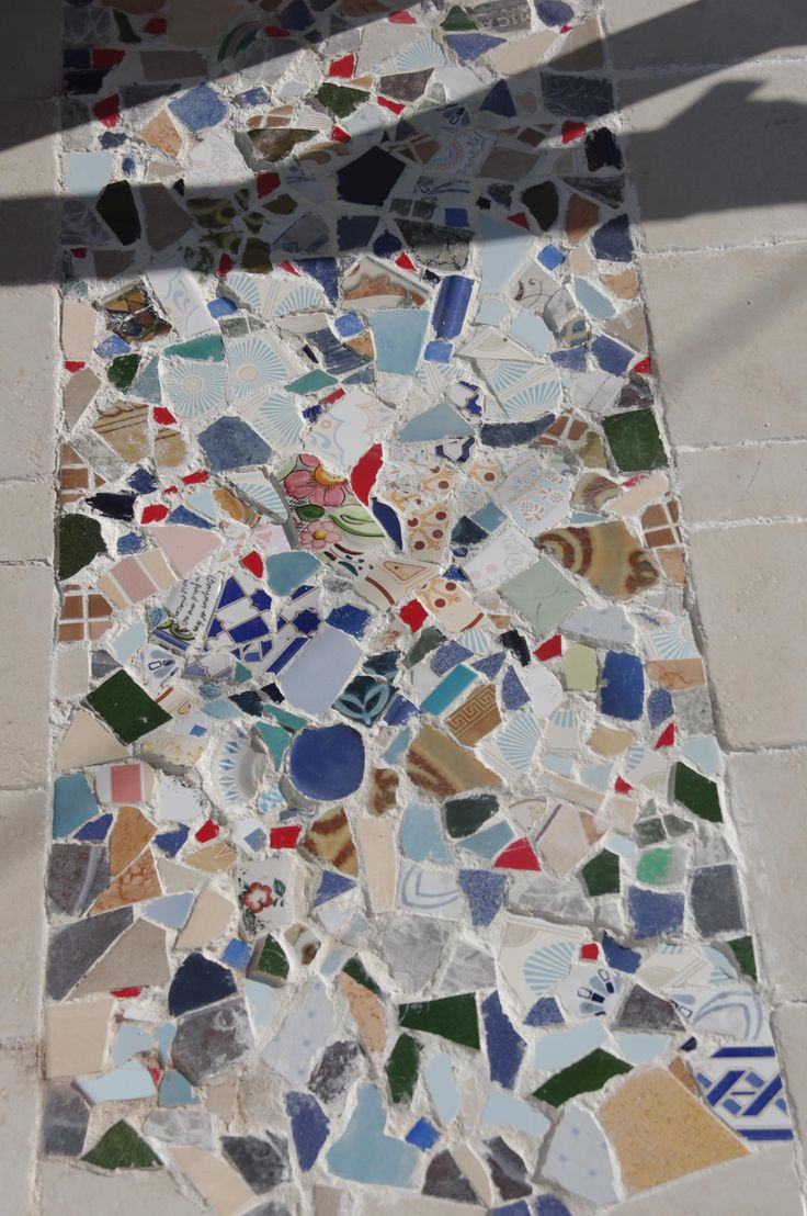 We Made This Mosaic With Broken Old Tiles At The Home