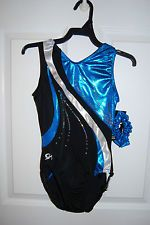 GK Elite Gymnastics Leotard - Child Medium -Black/Electric Turquoise/Silver