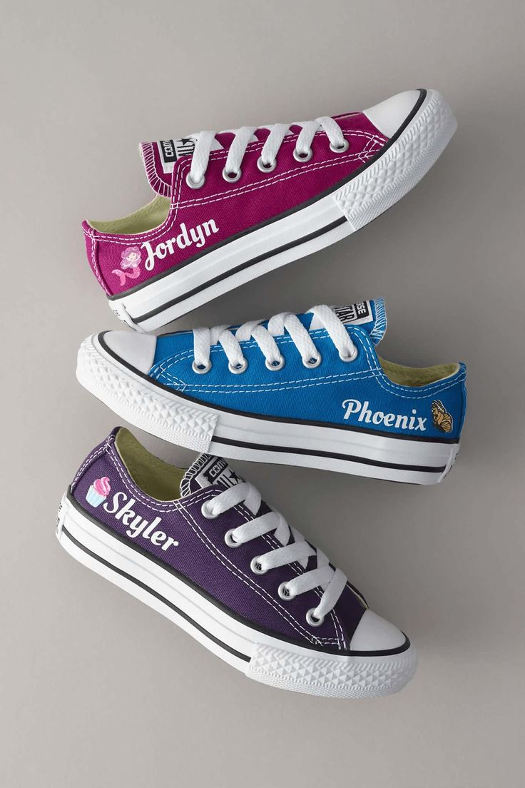 Customize your own Chuck Taylors from Converse with your name, color and fun icon of choice! A great personalized gift for kids.